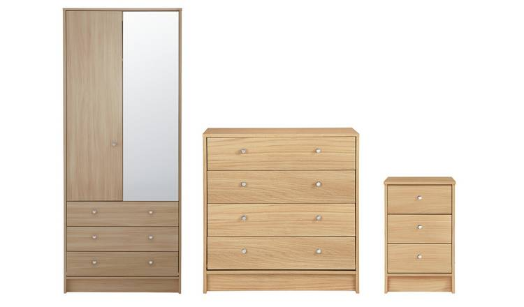 Habitat Malibu 3 Piece 2 Door Wardrobe Set - Beech Effect