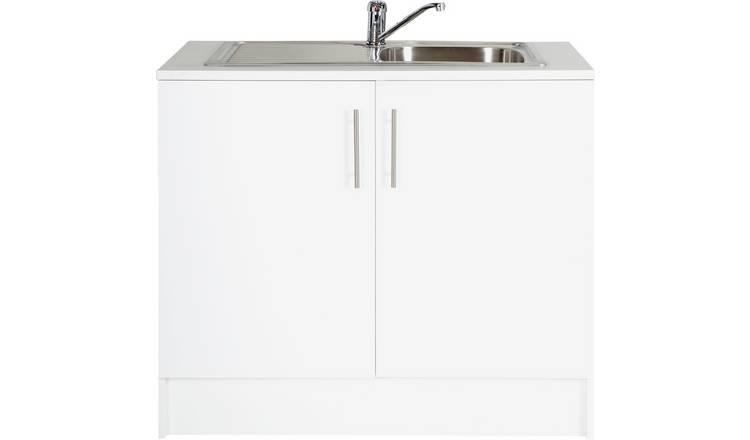 Buy Argos Home Athina 1000mm S Steel Kitchen Sink Unit White Fitted Kitchens Argos