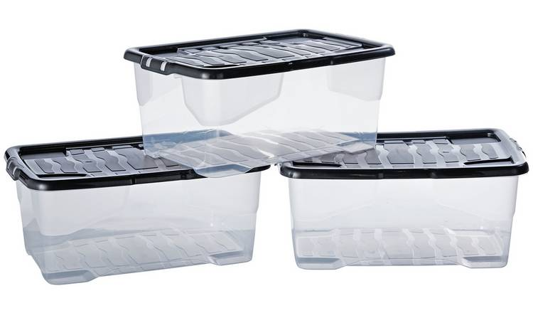 Argos Home Curve 42 Litre Lidded Plastic Boxes - Set of 3