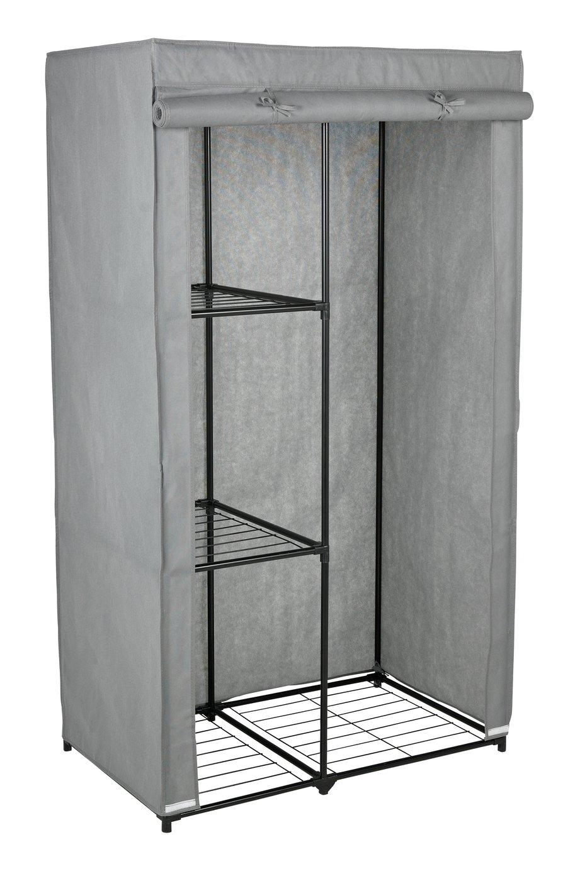 Argos Home Covered Single Wardrobe with Storage - Grey