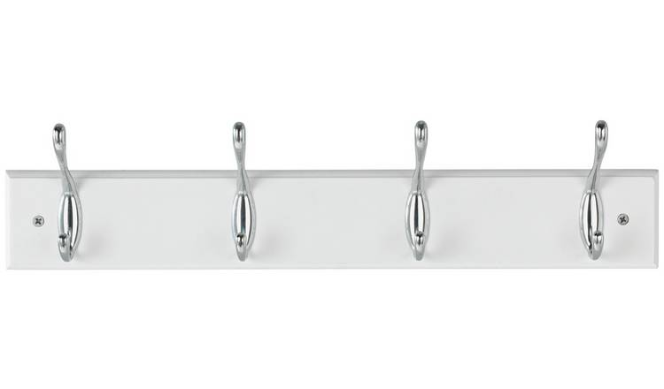 Argos Home 4 Piece Double Chrome Coat Hooks - White