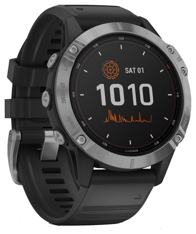 Garmin Fenix 6 Solar GPS Smart Watch - Silver/Black