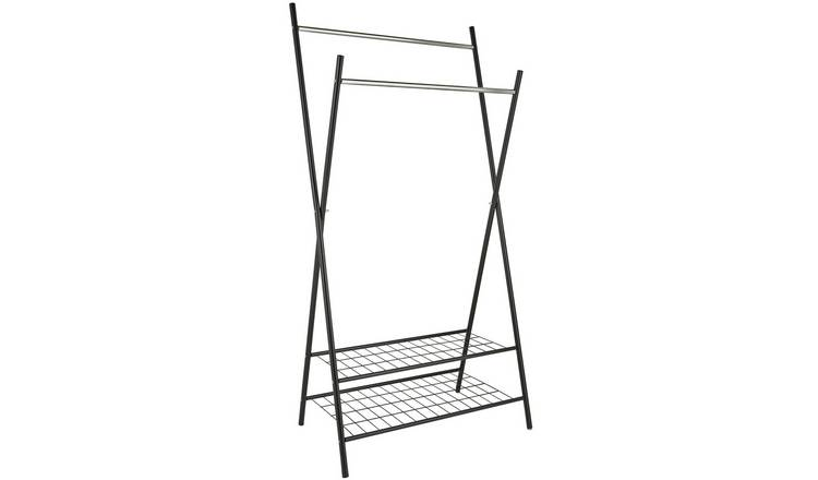Argos Home X-Frame Clothes Rail with Shelves - Black