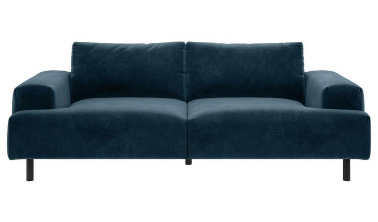 Habitat Julien 3 Seater Velvet Sofa - Navy