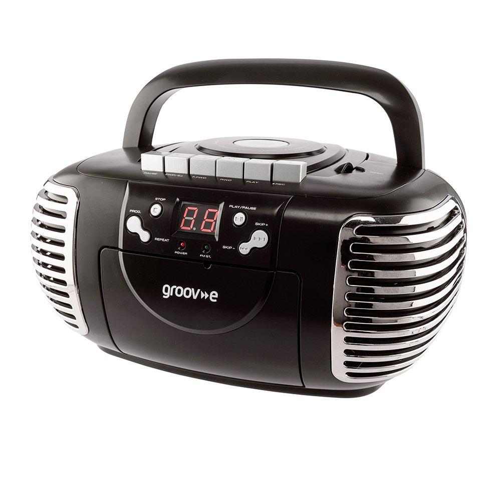 Groov-e Retro CD Boombox with Cassette & Radio - Black