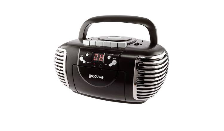 Groov-e Retro CD Boombox with Cassette & Radio – Black