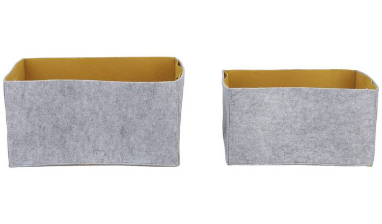 Argos Home Pack of 2 Felt 2 Tone Boxes