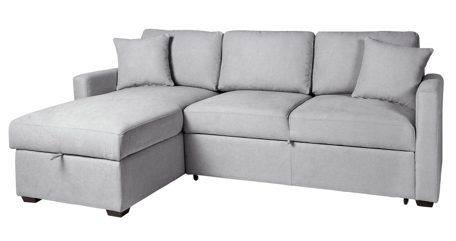 Argos Home Reagan Left Corner Fabric Storage Sofa Bed - Grey