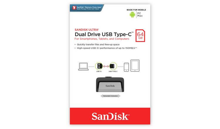 SanDisk Ultra Dual Drive USB 3.1 Type-C Flash Drive - 64GB