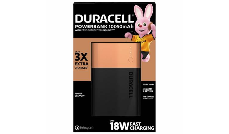 Duracell 10,050 mAh Fast Charge Portable Power Bank