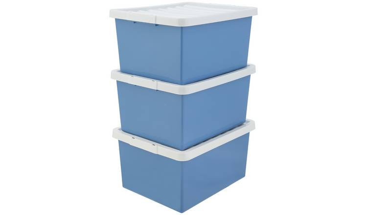 Argos Home Set of 3 Storage Boxes - Blue