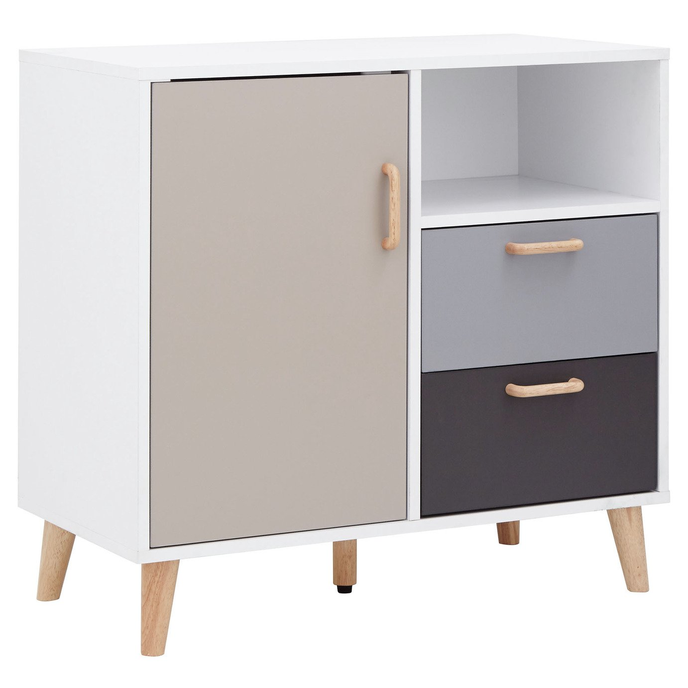 Delta Compact 1 Door 2 Drawer Sideboard - White & Grey