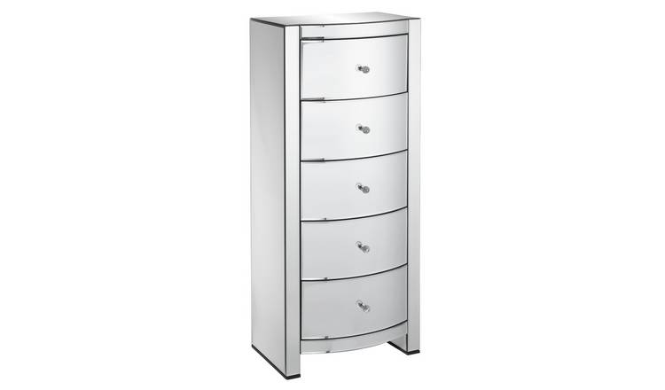 Argos Home Canzano 5 Drawer Tallboy - Mirrored