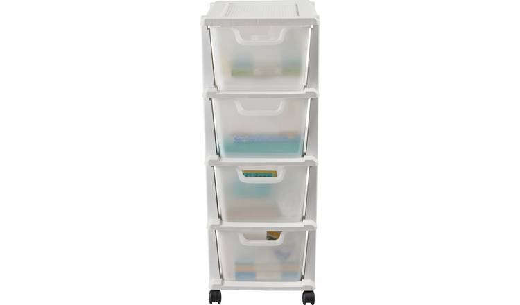 Argos Home 4 Drawer Plastic Tower Storage Unit - White