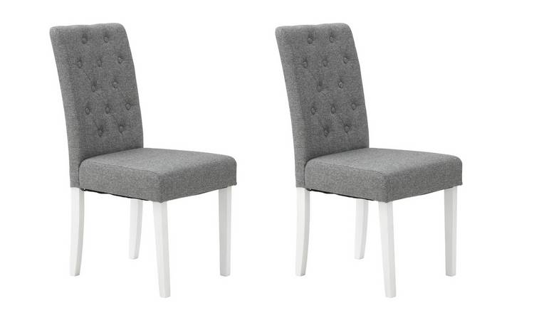 Habitat Pair of Tweed Button Mid Back Chair -Grey & White