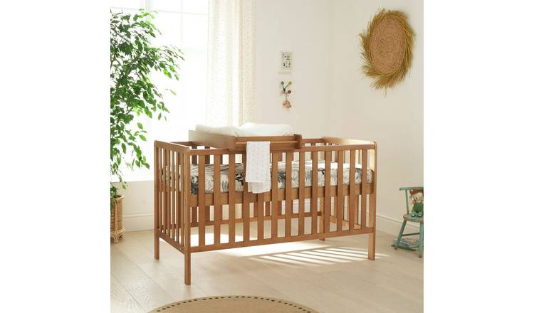 Malmo Baby Cot Bed, Cot Top Changer with Mattress - Oak