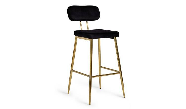 Buy Argos Home Beatrice Velvet Bar Stool Black Bar Stools Argos