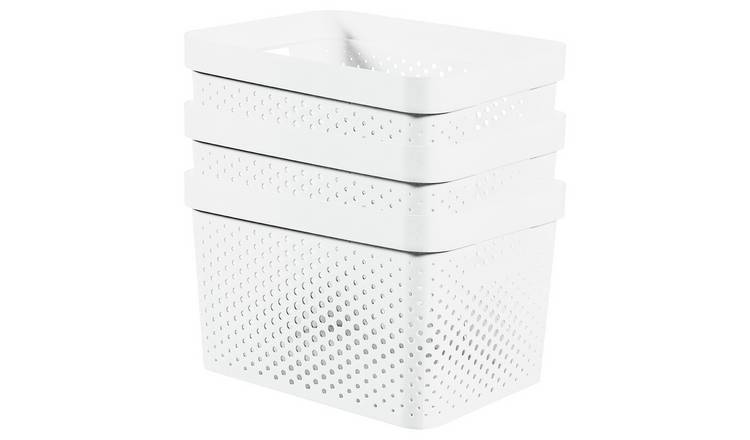 Curver Infinity Dots Set of 3 17 Litre Storage Boxes - White
