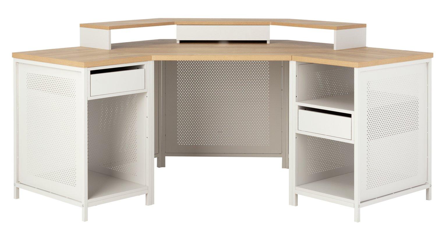 Argos Home Modular Corner Gaming Desk - Oak Effect & Grey
