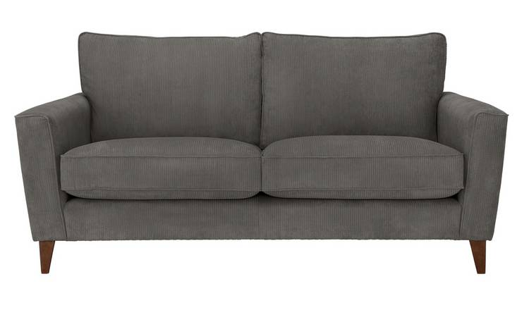 Argos Home Berlin 3 Seater Fabric Sofa - Charcoal