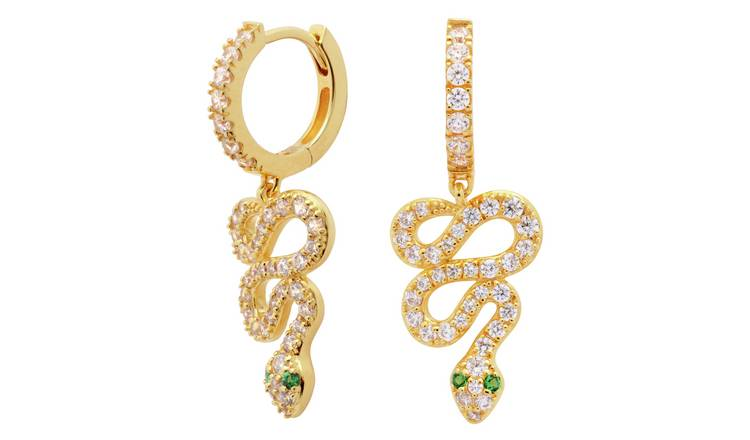 Revere 9ct Gold Plated Cubic Zirconia Huggie Earrings