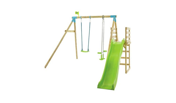 TP Kite Wooden Kids Double Swing Set with 8ft Wavy Slide