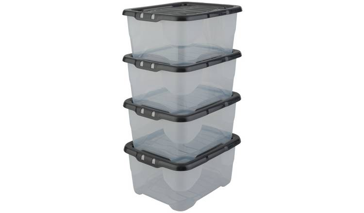 Strata 10 Litre Curve Plastic Box with Lid - Pack of 4