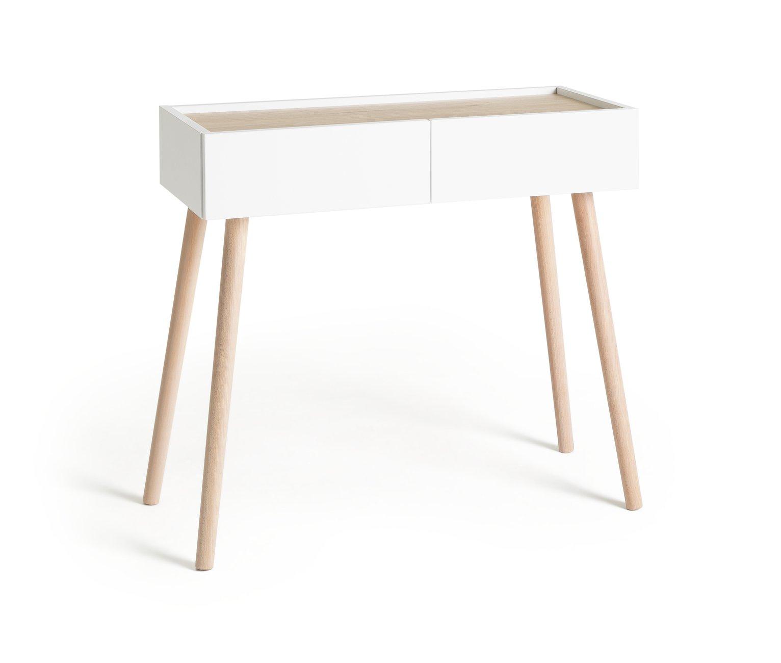 Argos Home Skandi 2 Drawer Console Table - White Two Tone