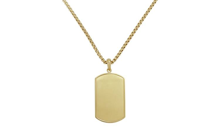 Revere Men's Stainless Steel Gold Colour Dog Tag Pendant