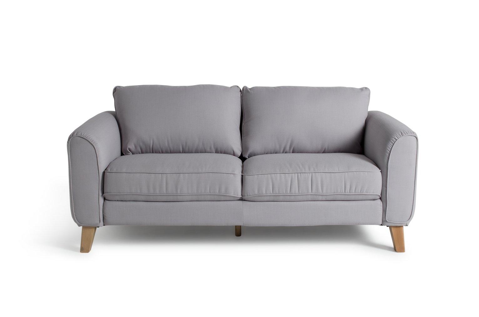 Habitat Cooper 3 Seater Fabric Sofa - Light Grey