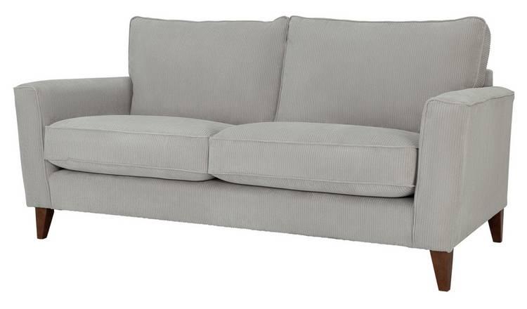 Buy Argos Home Berlin 3 Seater Fabric Sofa Silver   Sofas   Argos