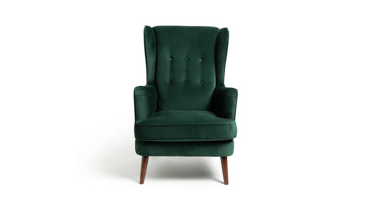 Habitat Callie Velvet Wingback Chair - Forest Green