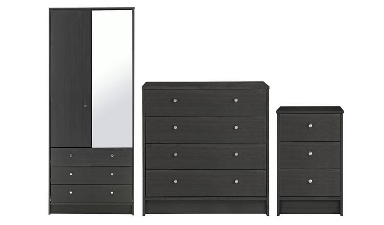 Habitat Malibu 3 Pc 2 Dr Wardrobe Set - Black Oak Effect