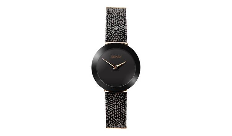 Seksy Black Crystal Leather Strap Watch
