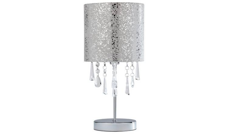 Argos Home Beaded Stick Table Lamp - Suede and Silver Foil