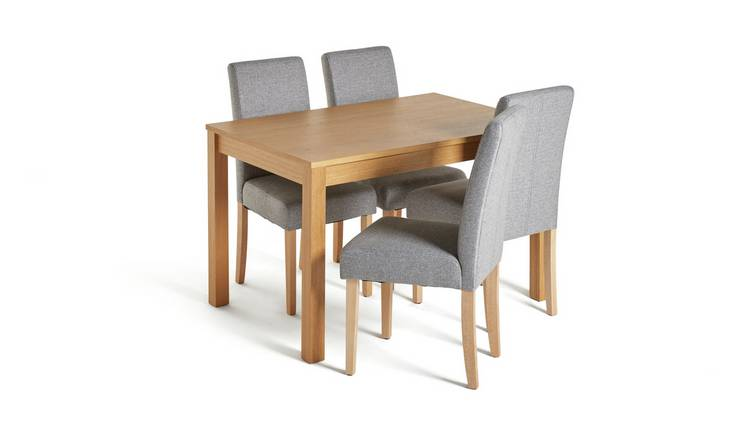 Habitat Clifton Oak Veneer Table & 4 Tweed Chairs - Grey