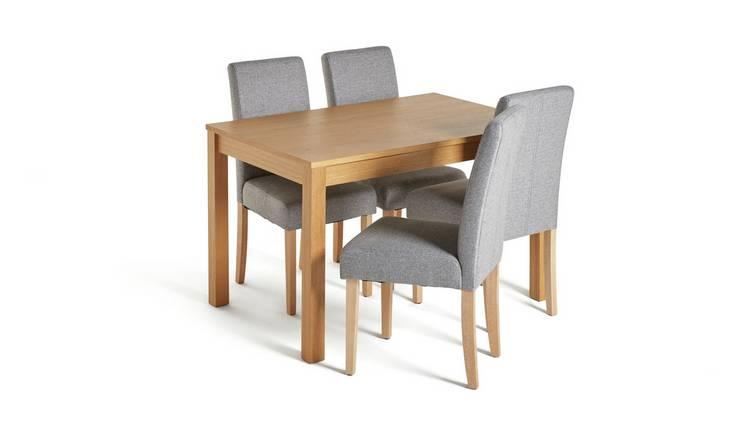 Buy Argos Home Clifton Oak Veneer Table & 4 Tweed Chairs ...