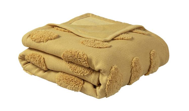 Argos Home Tufted Spot Handwoven Throw - 125x150cm - Mustard
