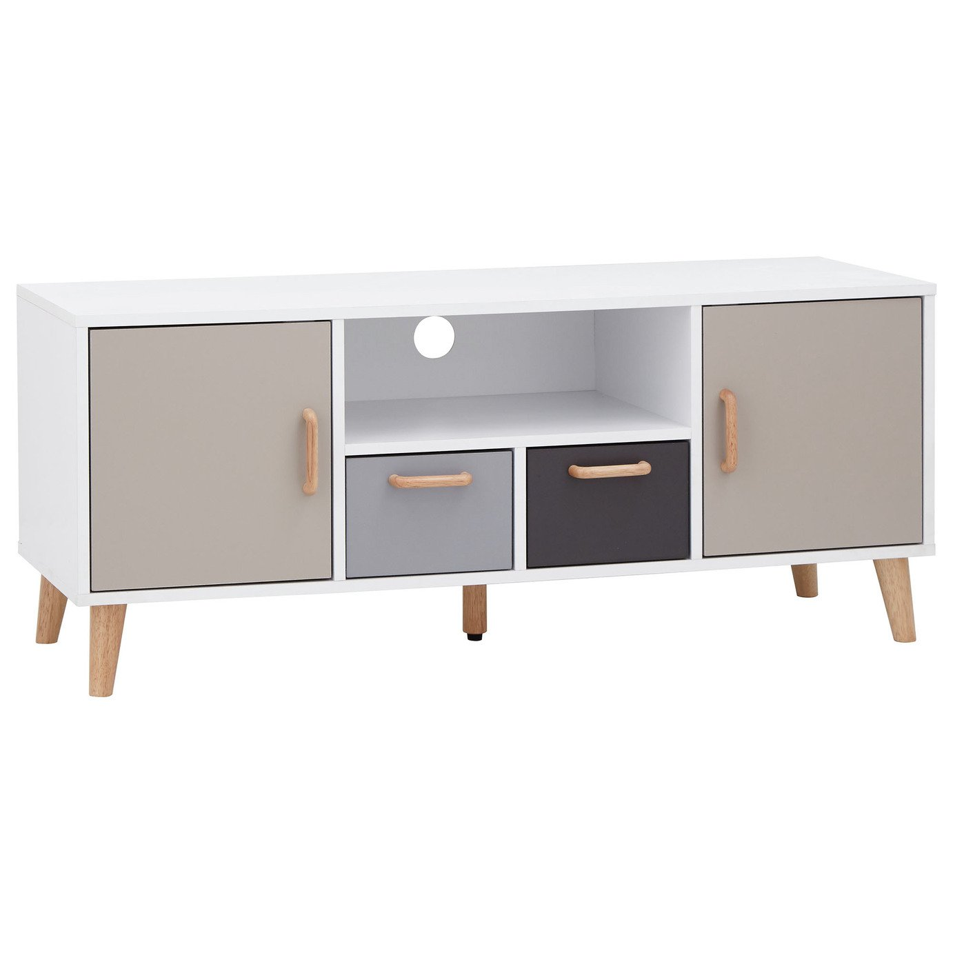 Delta 2 Door 2 Drawer Large TV Unit - White & Grey