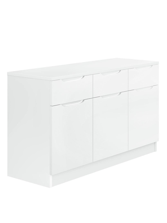 Legato Gloss 3 Door 3 Drawer Sideboard - White