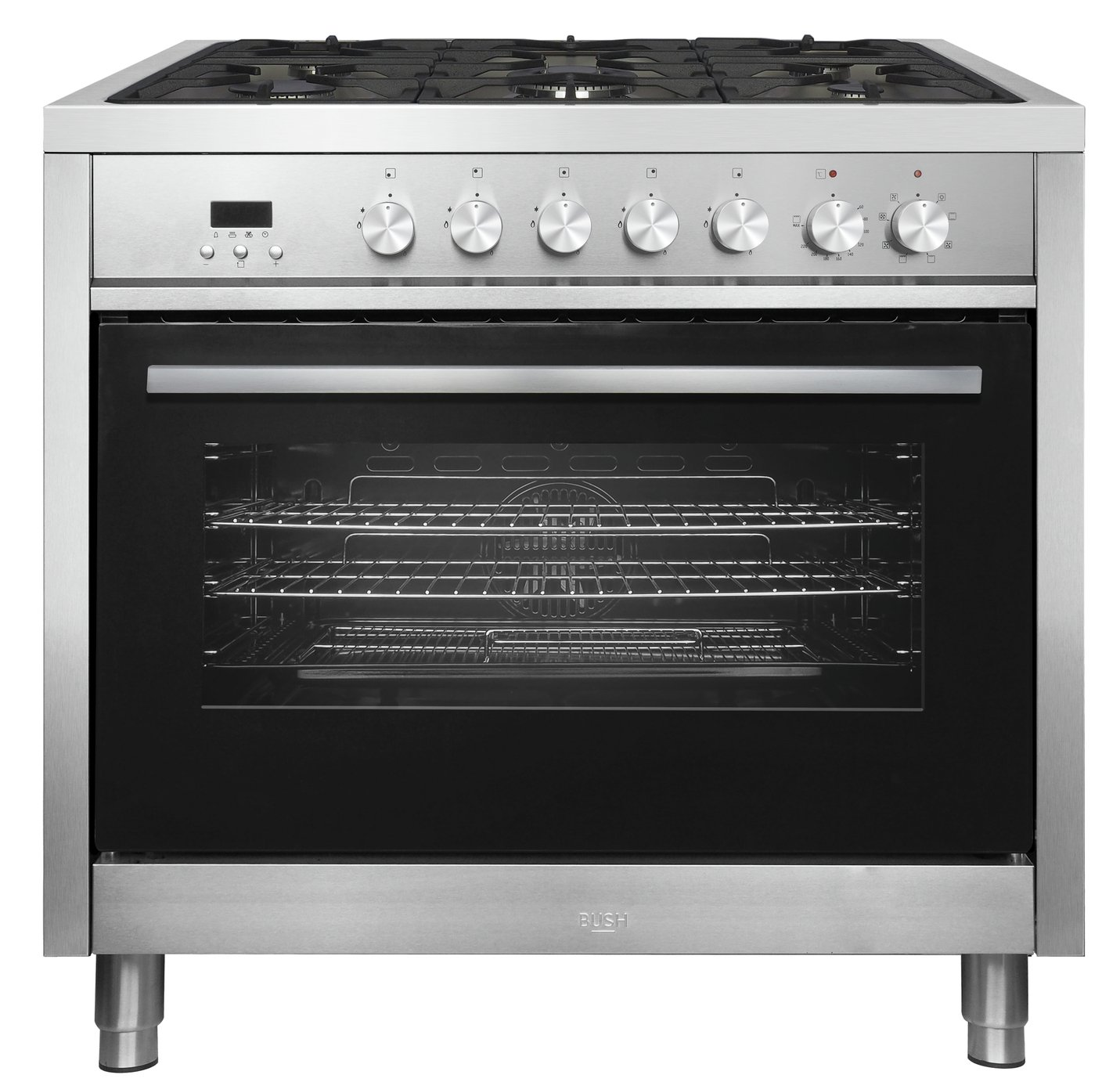 Bush BRC90DFSS 90cm Dual Fuel Range Cooker - Stainless Steel