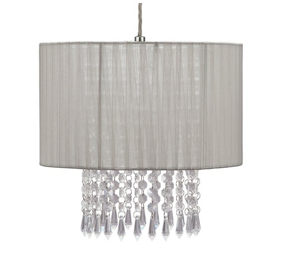 Buy argos home grazia voile droplet light shade grey lamp shades argos home grazia voile droplet light shade grey aloadofball