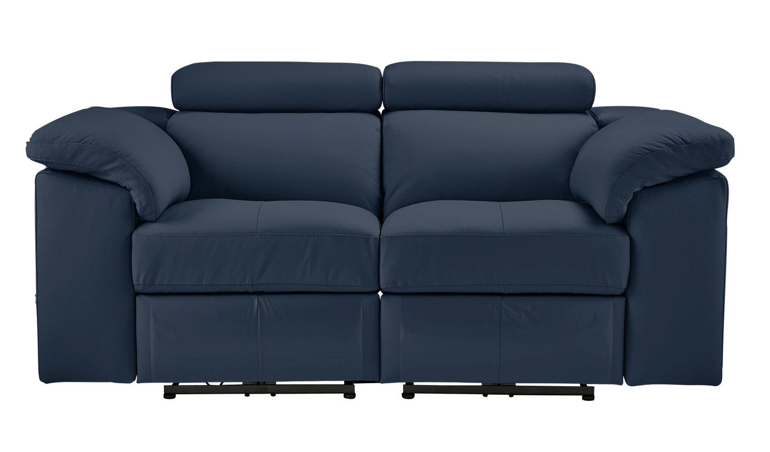 Argos Home Valencia 2 Seater Leather Recliner Sofa - Blue