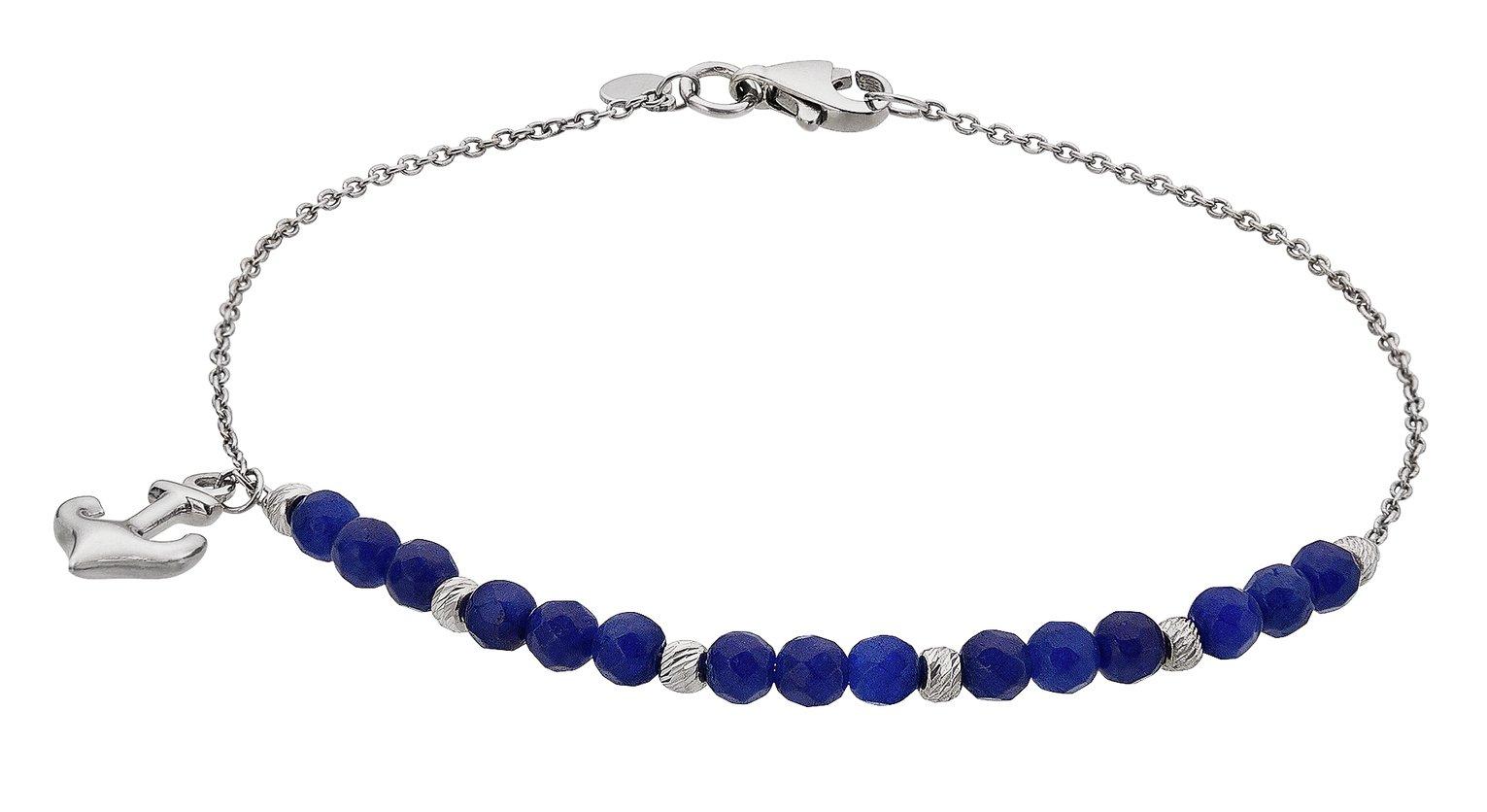 Revere Sterling Silver Blue Stone Anchor Charm Bracelet