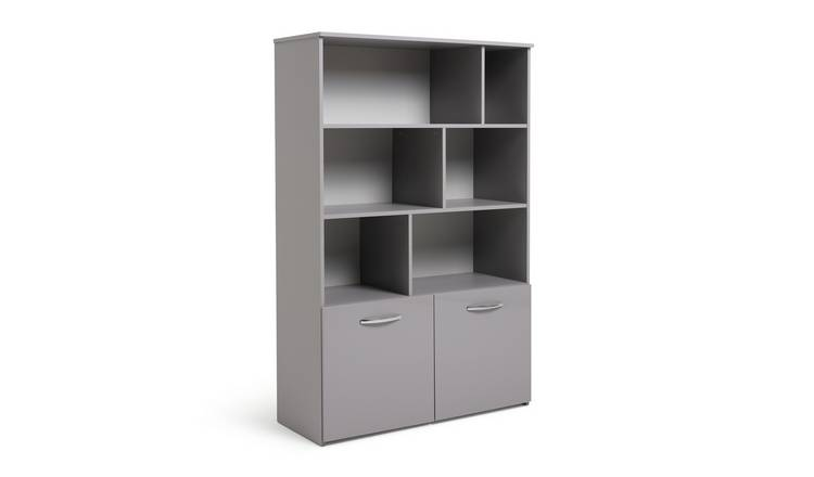 Habitat Hayward 2 Door Shelving Unit - Grey Gloss