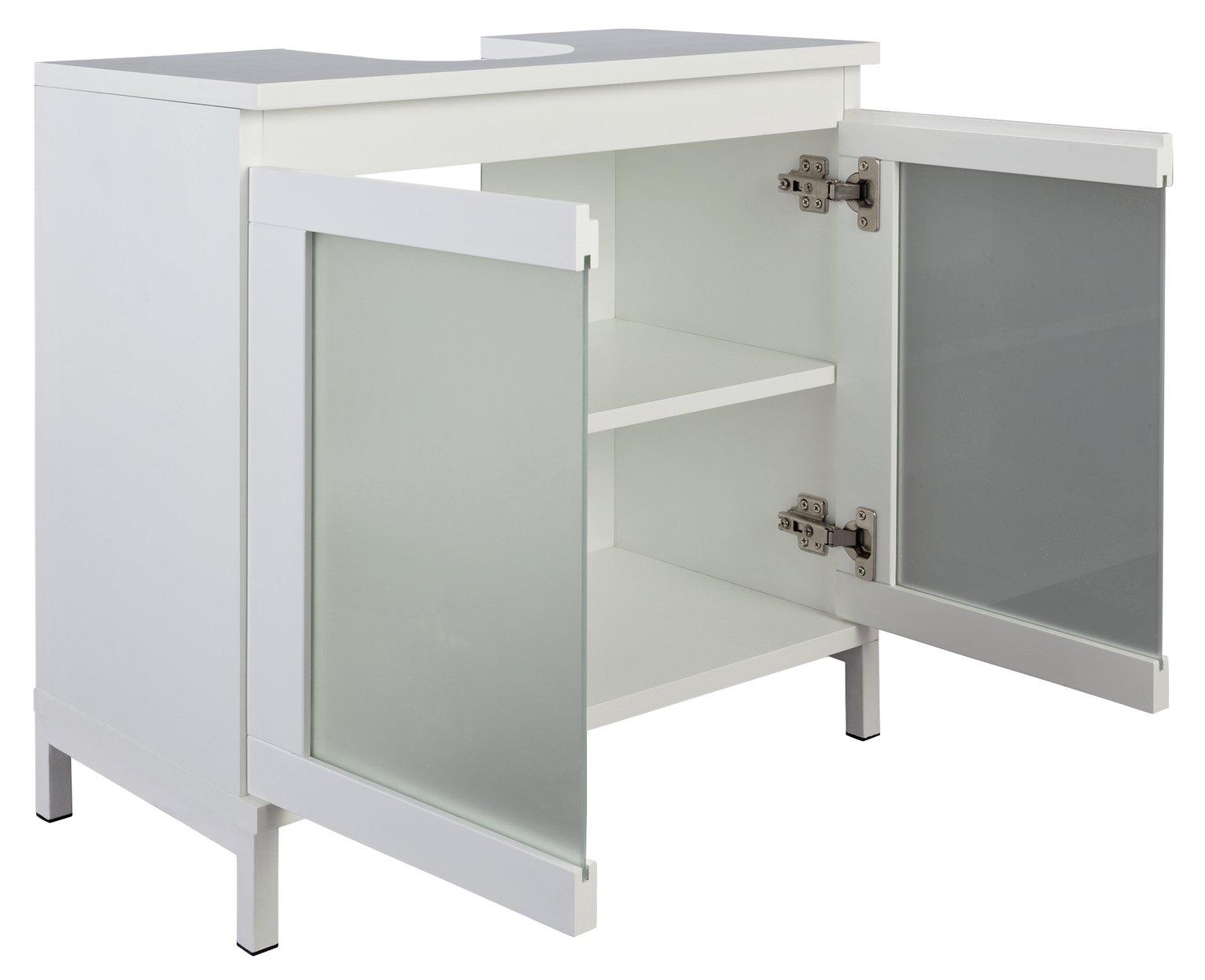 Buy Hygena Ice Undersink Storage Unit White Bathroom Shelves And