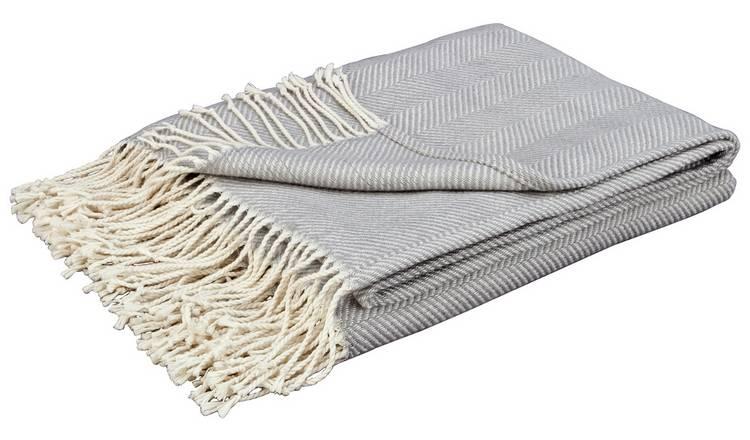 Buy Argos Home Herringbone Throw - Dove Grey | Blankets and throws | Argos