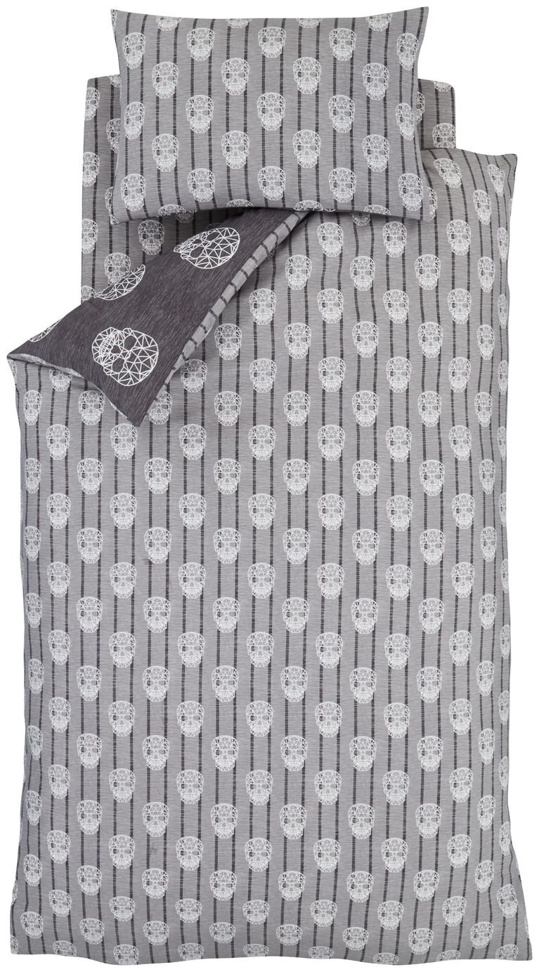 Catherine Lansfield Grey Skulls Bedding Set – Single