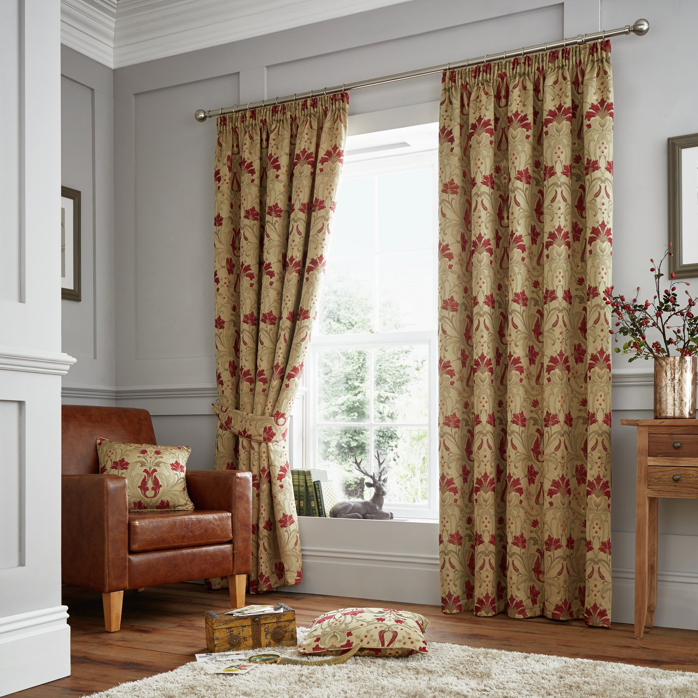 Image of Curtina Burford Curtains - 168x183cm - Red and Gold