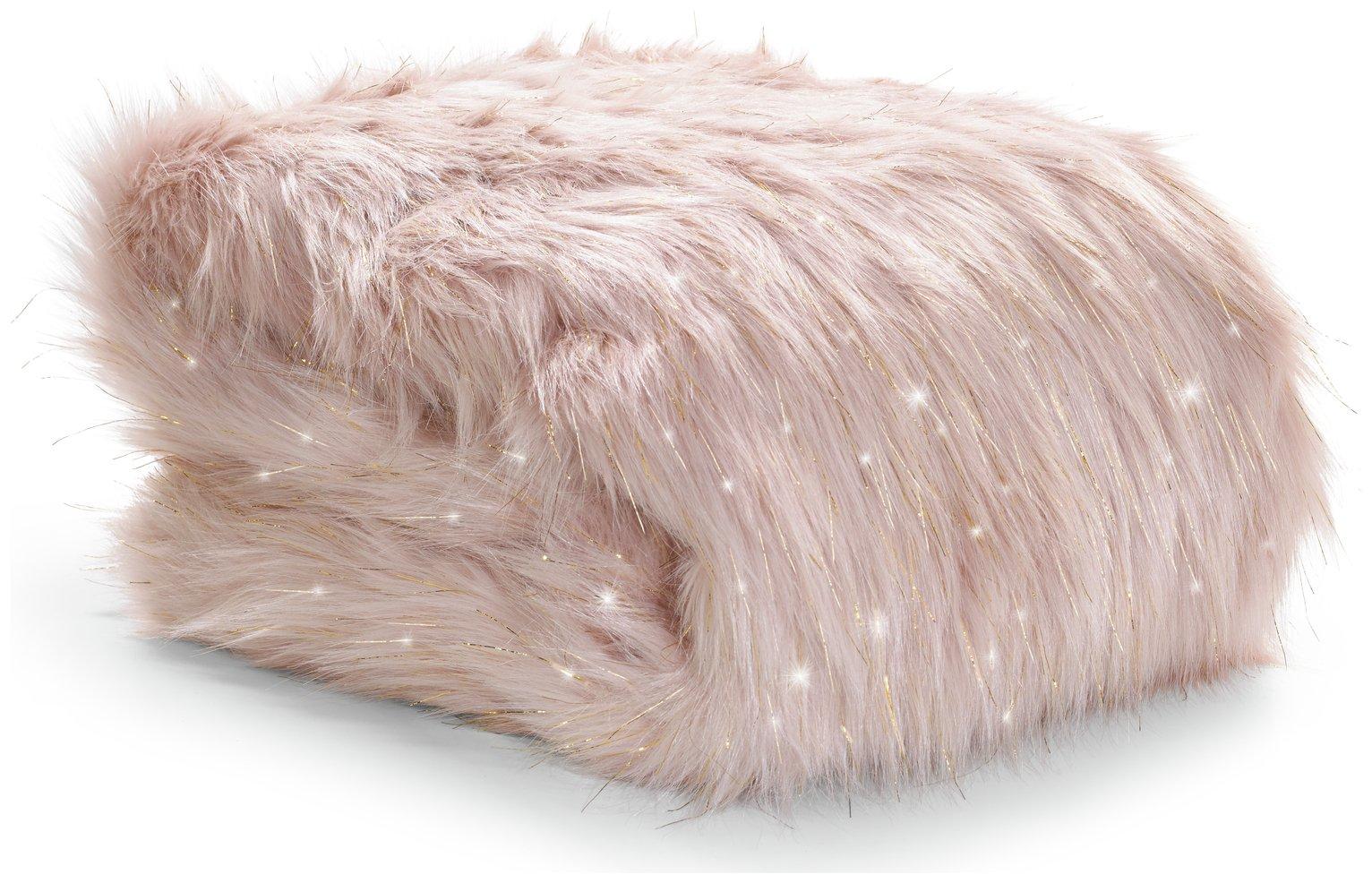 Image of Catherine Lansfield Metallic Fur Throw - Blush